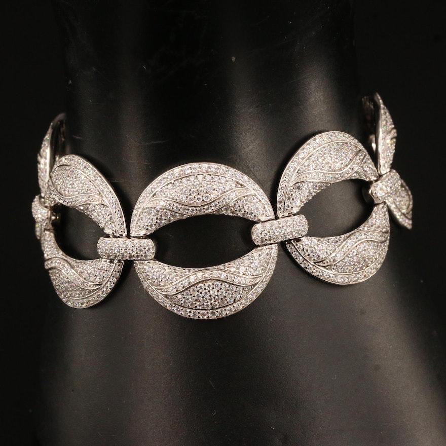 Sterling Silver Cubic Zirconia Link Bracelet