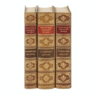"Gilded Leather Bound ""Cambridge Edition of the Poets"" Including Tennyson, 1895"