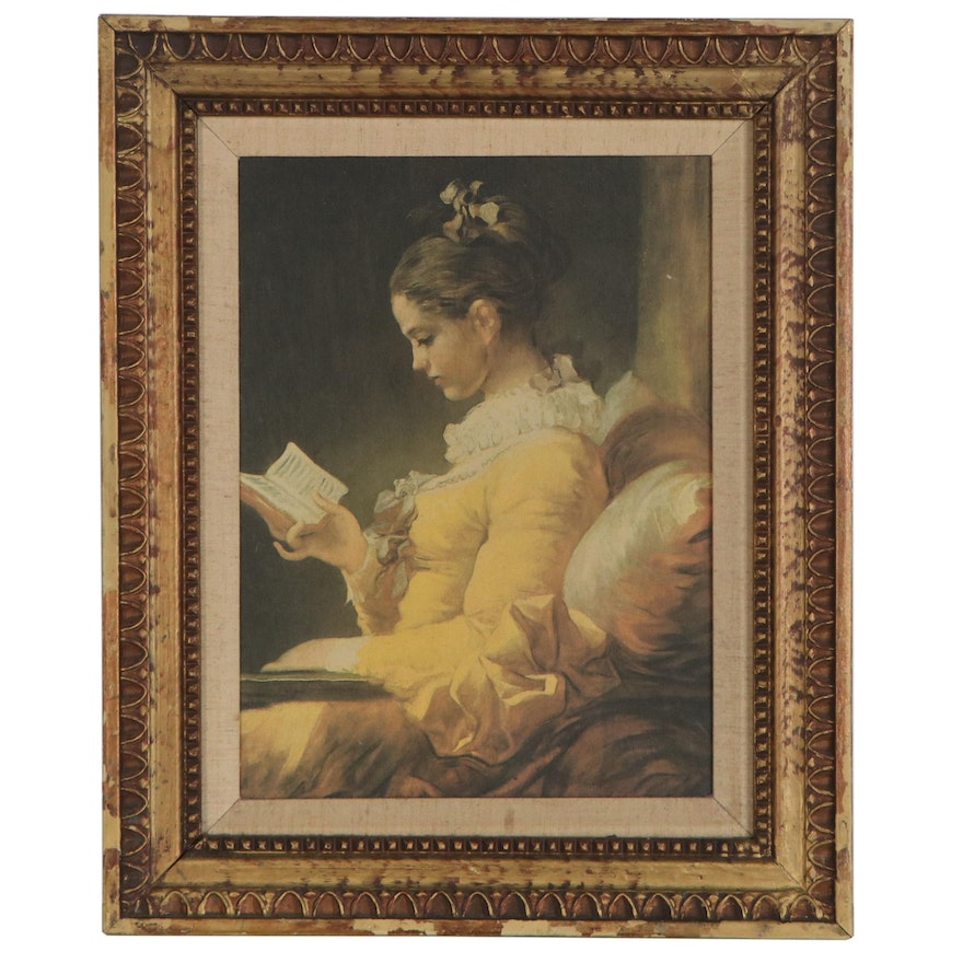 """Offset Lithograph after Jean-Honoré Fragonard """"A Young Girl Reading"""""""