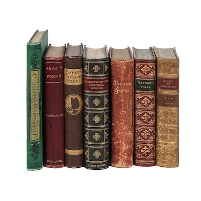 Embossed Leather and Cloth Bound Poetry Books Including Shakespeare and Keats