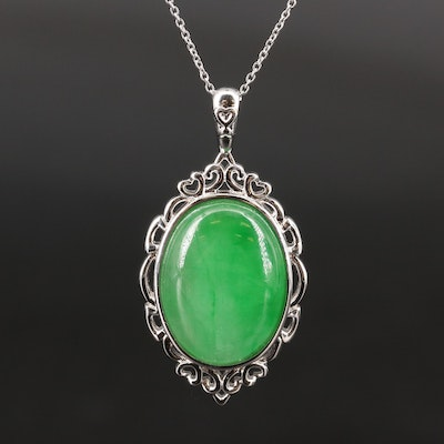 Sterling Silver Jadeite Pendant Necklace