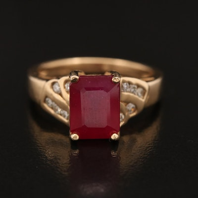 14K Corundum Ring with Diamond Accents