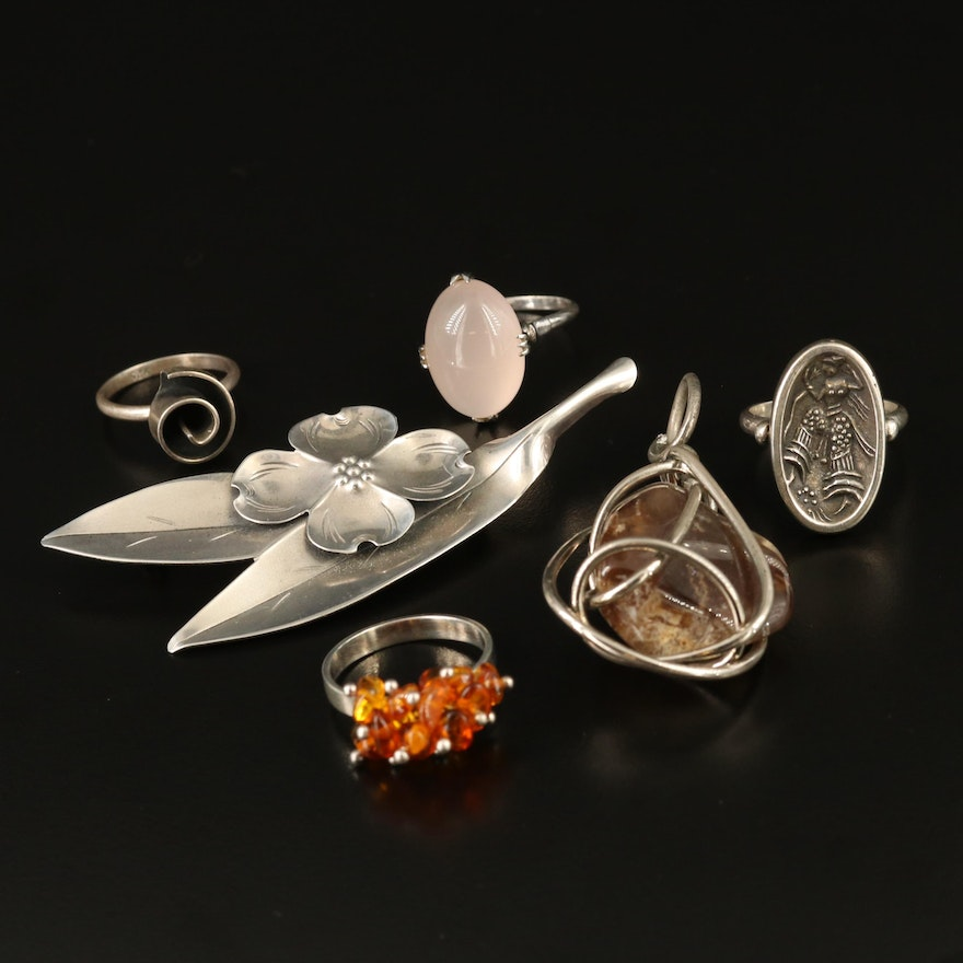 Sterling Silver Gemstone Jewelry Selection Featuring Vintage Stuart Nye Brooch