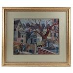 Albert Parella Urban Scene Watercolor Painting, 1957
