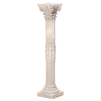 Neoclassical Style Cast Plaster Columnar Pedestal