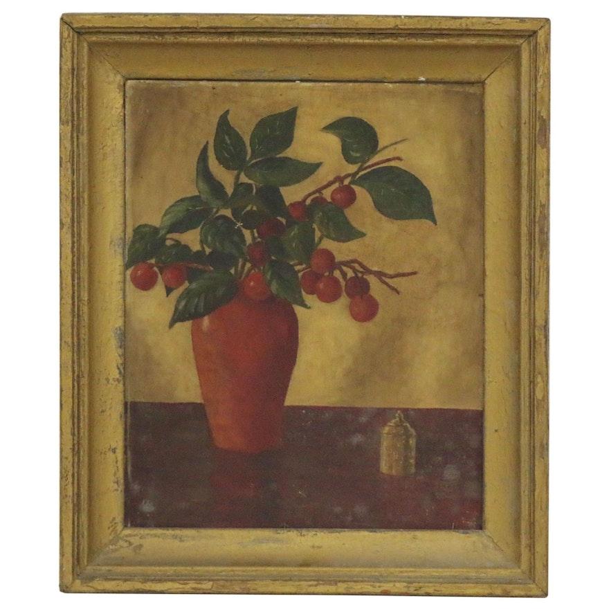 Folk Art Style Still Life Oil Painting, 19th to 20th Century