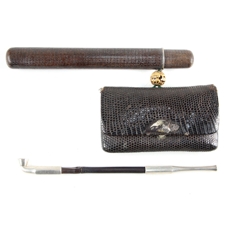 Japanese Sterling Kiseru, with Case, Tobacco Pouch, Late 19th - Early 20th C