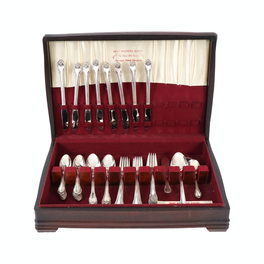 "1847 Rogers Bros. ""Remembrance"" Silver Plate Flatware Set for Eight"