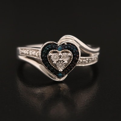 Sterling Diamond and Blue Diamond Heart Ring