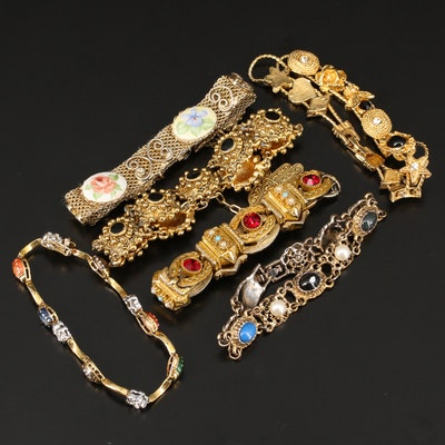 Assorted Rhinestone and Gemstone Bracelets with Moroccan Cannetille Bracelet