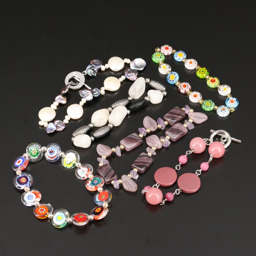 Selected Glass and Pearl Bracelets Featuring Millefiore Beads