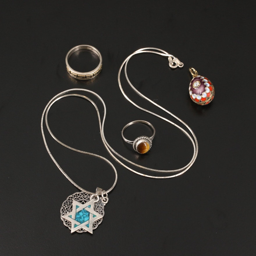 Jewelry Selection Featuring Russian Cloisonné Egg Pendant