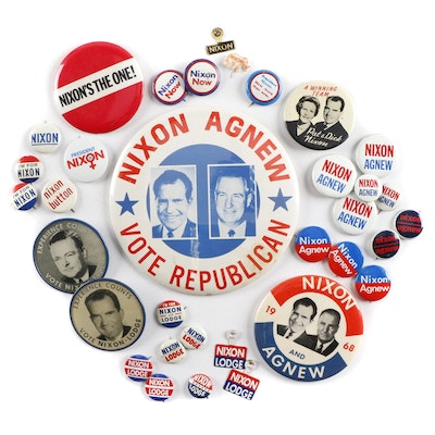 Richard Nixon U.S. Presidential Campaign Pinbacks and Tabs, 1950s-1960s