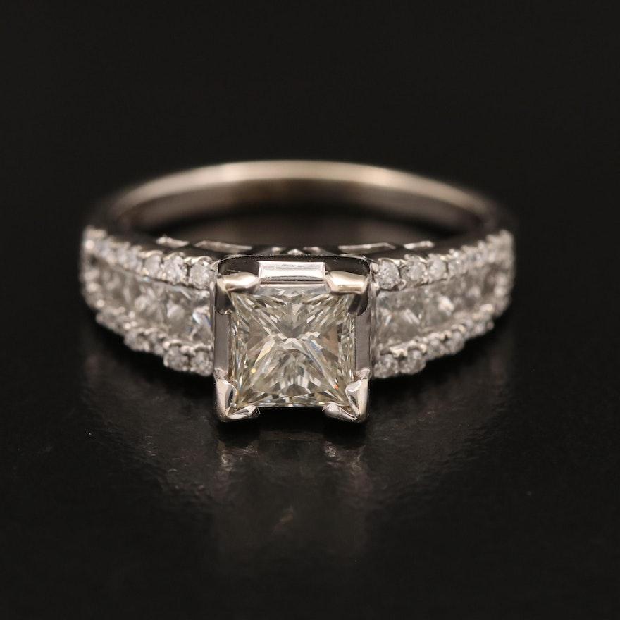 14K 1.85 CTW Diamond Ring with 1.07 CT Center