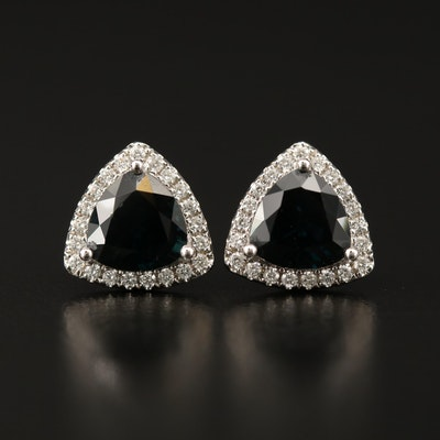 14K Sapphire and Diamond Stud Earrings