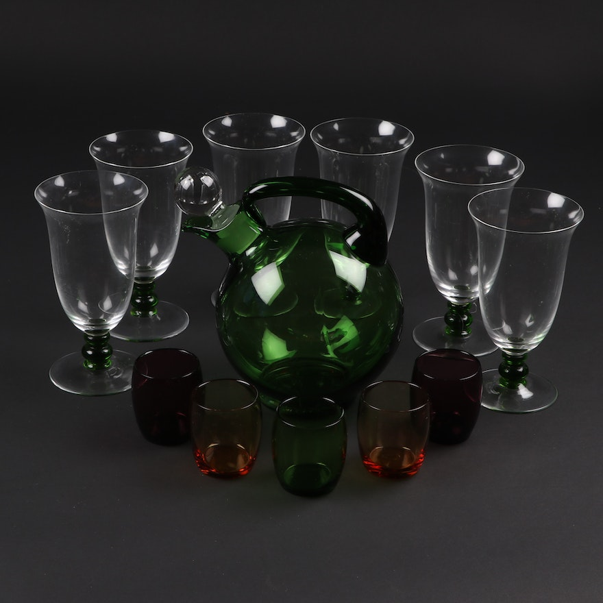 Italian Hand Blown Tilt Ball Decanter with Glasses and Stemware