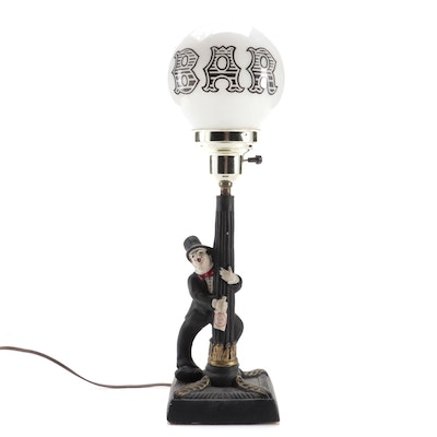 "Streetlight ""Bar"" with Tipsy Figurine Table Lamp, Mid to Late 20th Century"