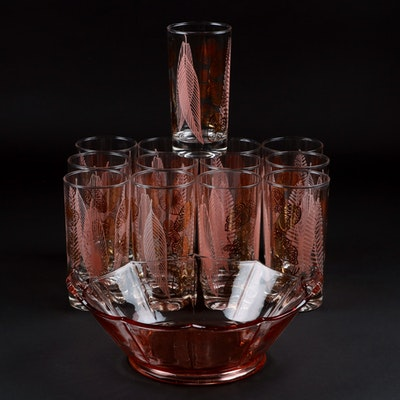 Mid Century Tumblers and Pink Depression Glass Serving Bowl, Mid-20th Century