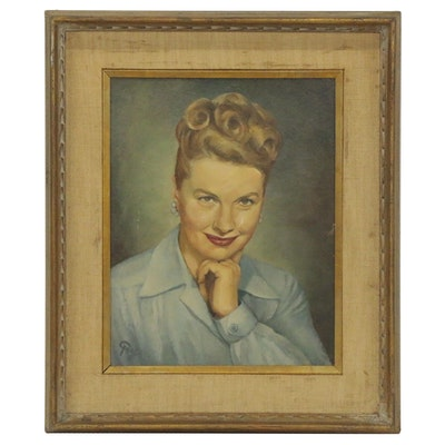 Portrait Oil Painting, Mid 20th Century