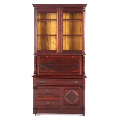 Victorian Walnut Secretary Bookcase, Late 19th Century