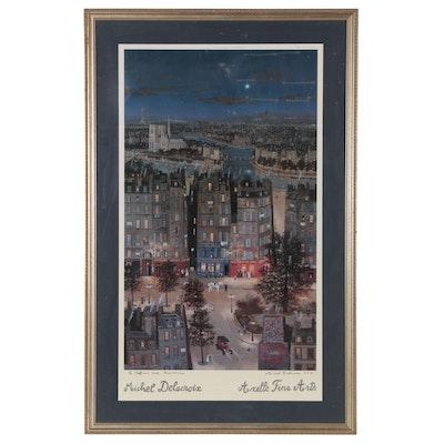 Michel Delacroix Offset Lithograph of a Cityscape, 1995