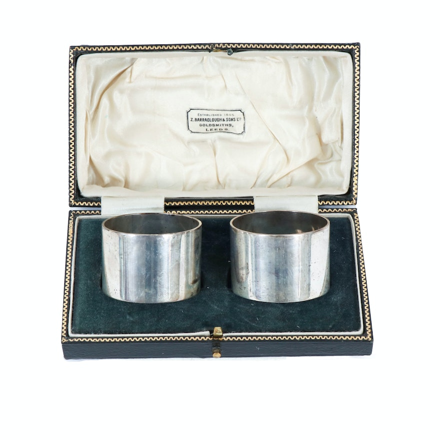 Colen Hewer English Sterling Silver Napkin Rings, 1922