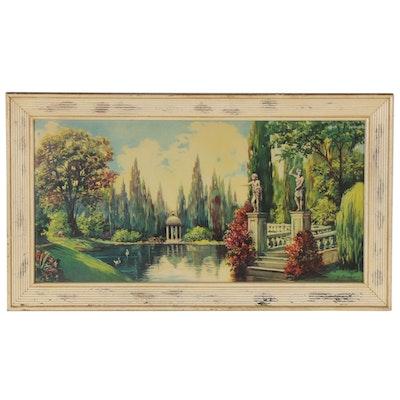 Offset Lithograph Art Nouveau Style Landscape, 21st Century