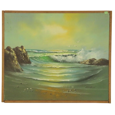 Ocean Seascape Oil Painting, 20th Century