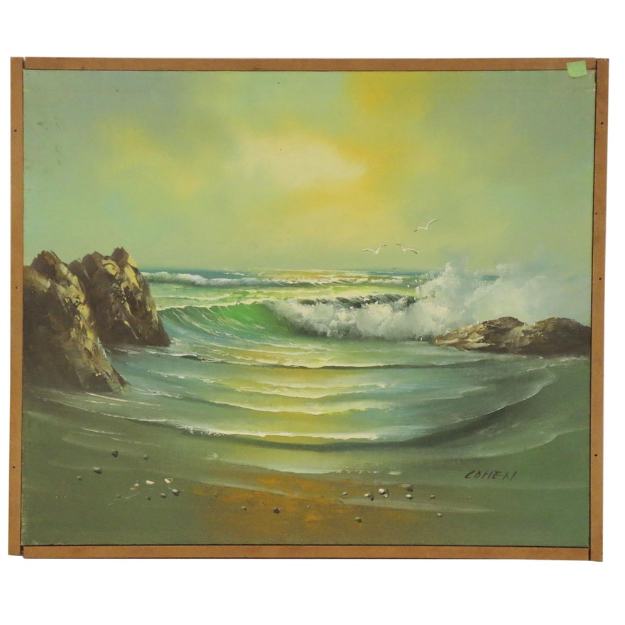 Ocean Seascape Oil Painting, 20th Century