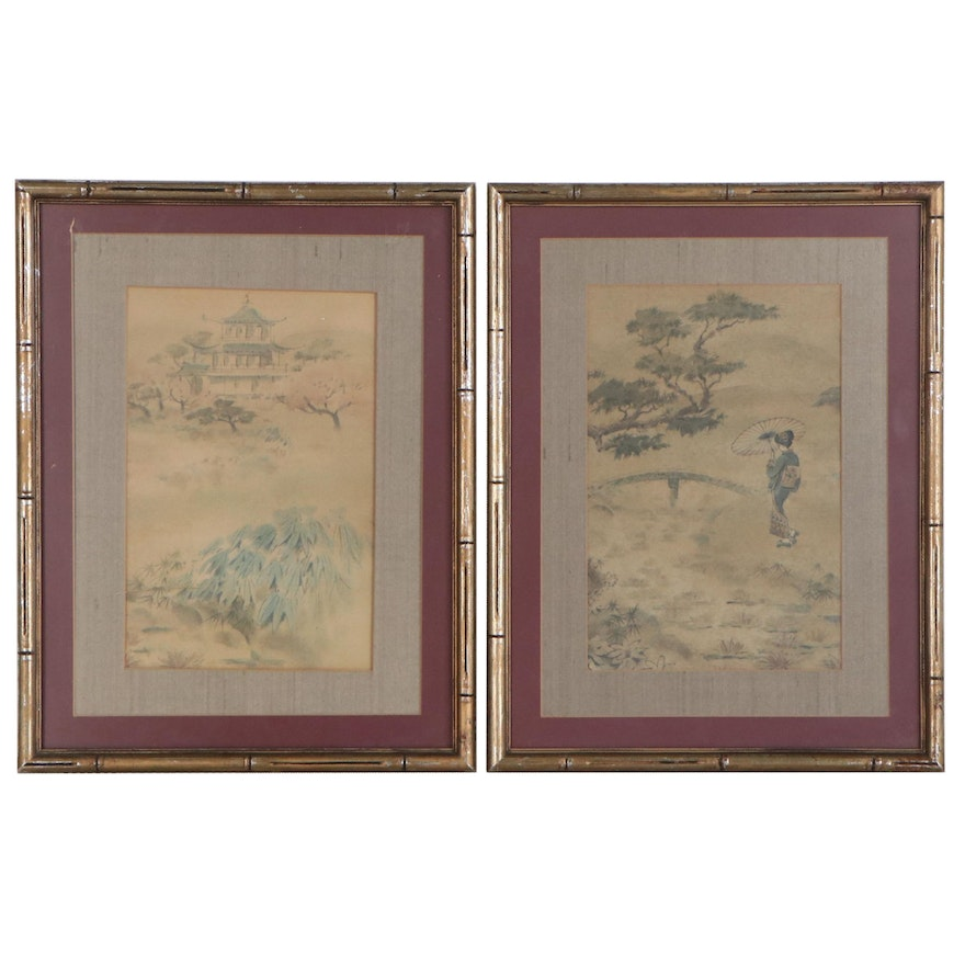 Offset Lithograph of a Japanese Style Landscape