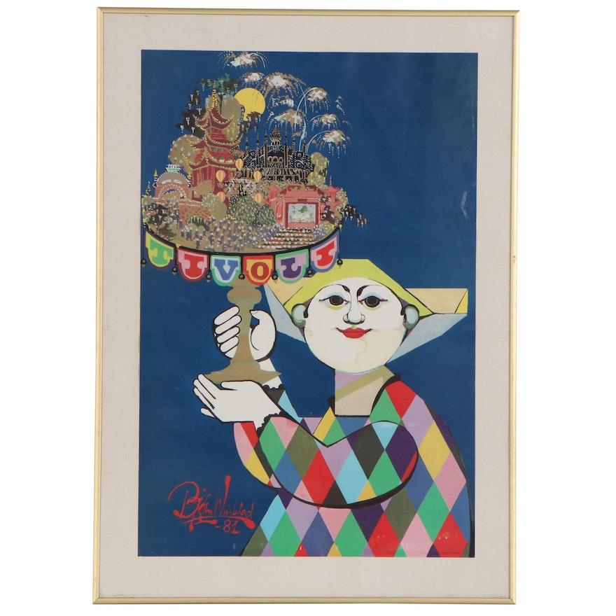 """Embellished Offset Lithograph Poster after Bjørn Wiinblad """"Tivoli"""""""