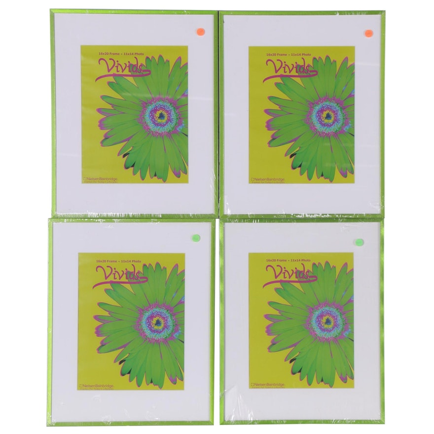 Vivids Brand Lime Green Enameled Metal Picture Frames with Mats