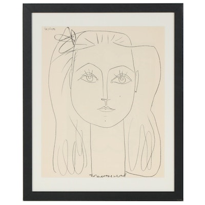"Lithograph after Pablo Picasso ""Frances with Bow in Hair"", 1959"