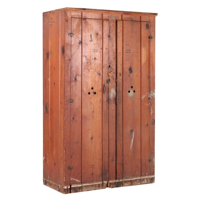 Vintage Pine US Government Wood Lockers, 20th Century
