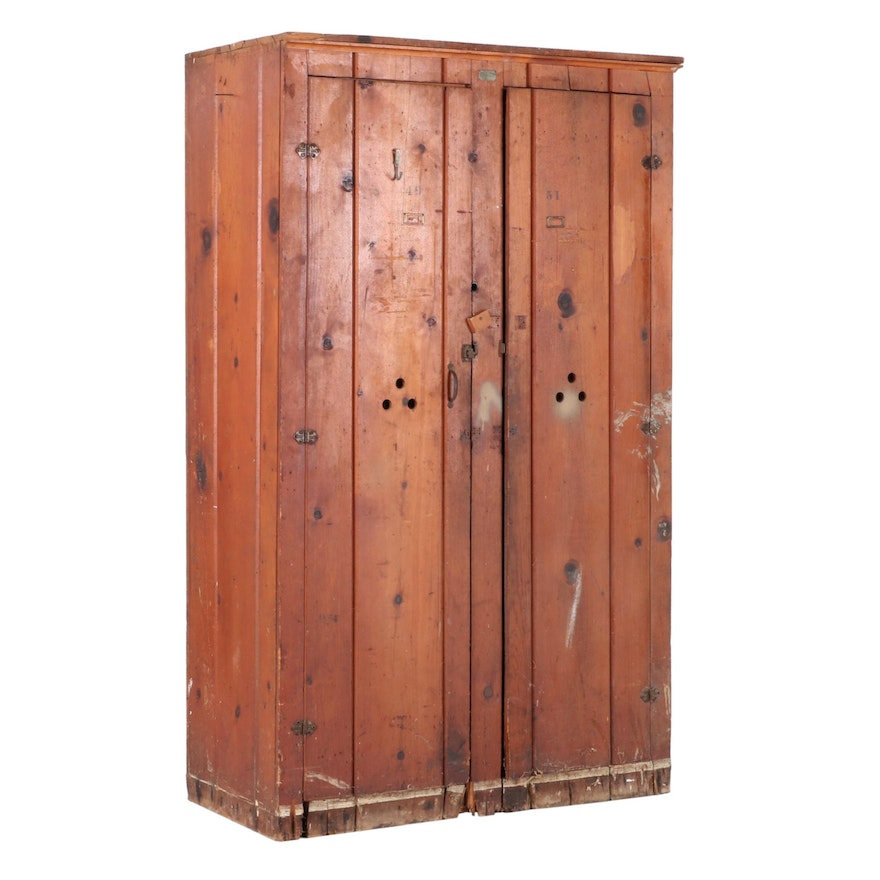 Vintage Pine US Government Wood Lockers, Mid-20th Century