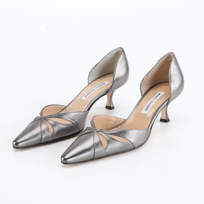 Manolo Blahnik Butterflanny d'Orsay Pumps in Gunmetal Metallic Leather