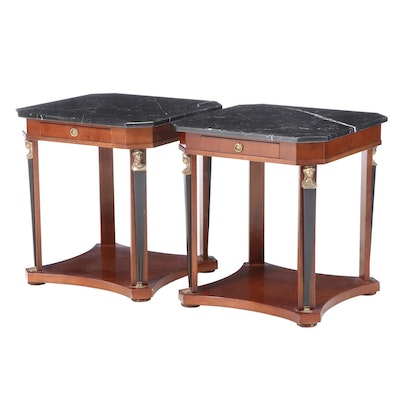 Pair of Empire Style Brass-Mounted, Parcel-Ebonized, and Marble Top Side Tables