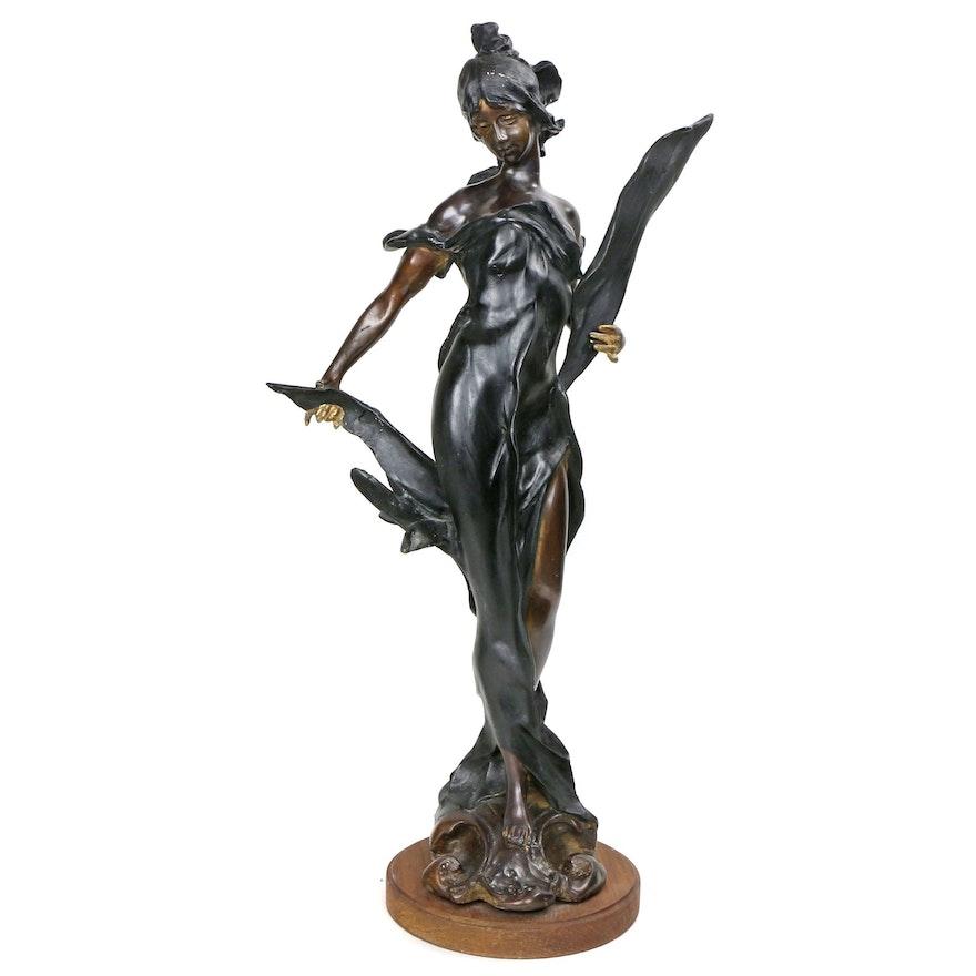 "Cast Spelter Sculpture after Auguste Moreau ""Diane"""