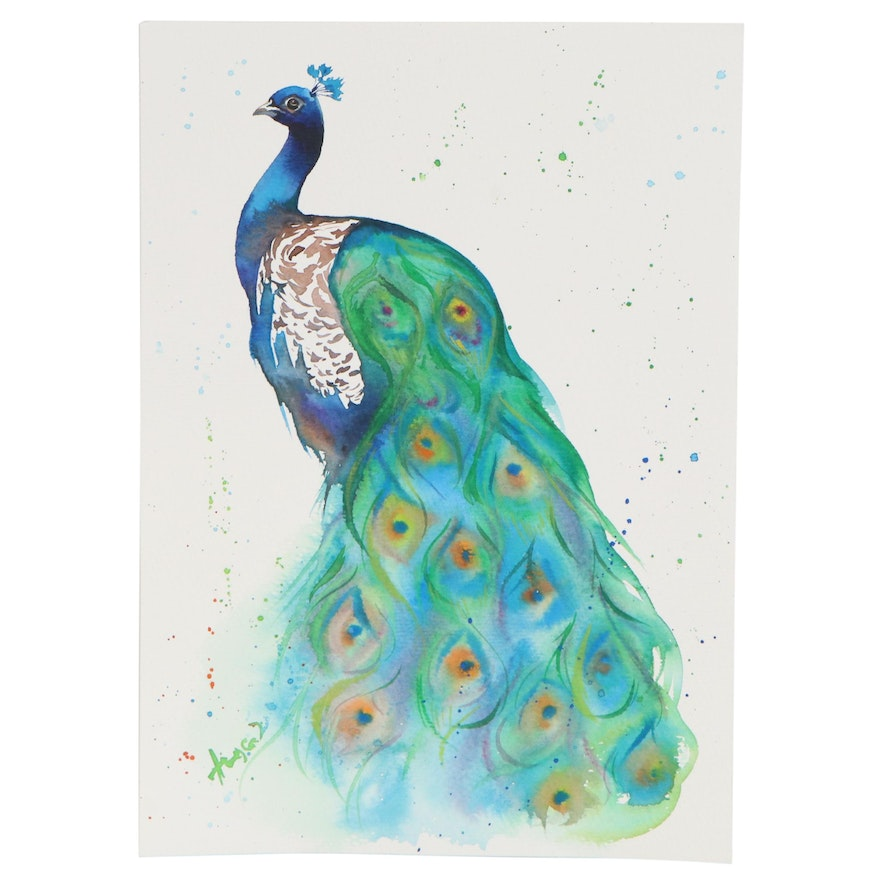 Anne Gorywine Watercolor Painting of a Peacock, 2020