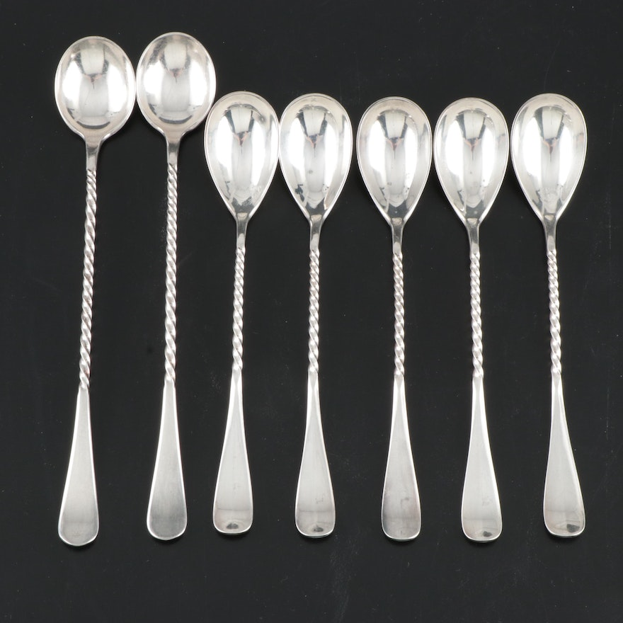 Rogers Bros. Twist Handle Silver Plate Iced Tea and Egg Spoons