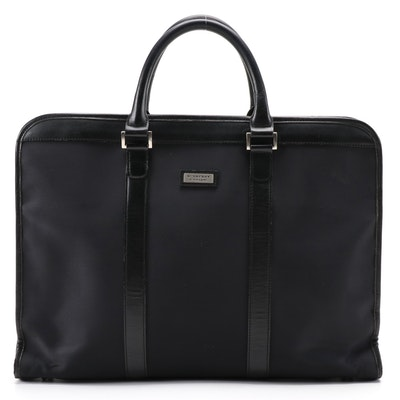 Burberry Black Label Nylon Briefcase Tote with Black PVC Trim