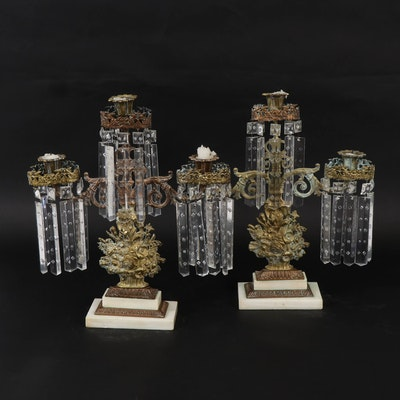 Victorian Gilt Bronze Lusters on Marble Bases, Mid to Late 19th Century