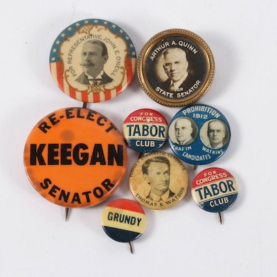 United States Political Pinback Buttons, 19th & 20th Century