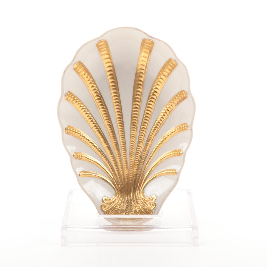 Hollywood Regency Marbro Porcelain Shell Bowl, Mid-20th Century