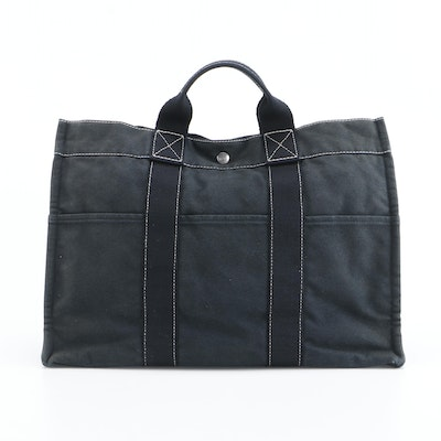Hermès Fourre Tout Black Cotton Canvas Tote Bag with Contrast Stitching