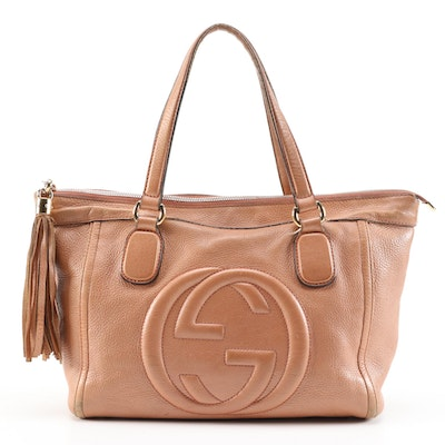 Gucci Interlocking GG Zipper Soho Bag with Tassel in Light Tan Grained Leather