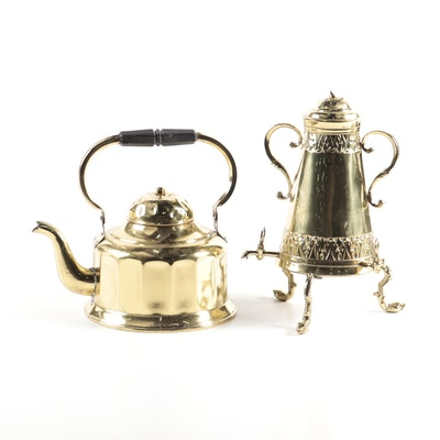 Jima Brass Plate Tea Kettle and Three-Sided Repoussé Brass Plate Coffee Urn