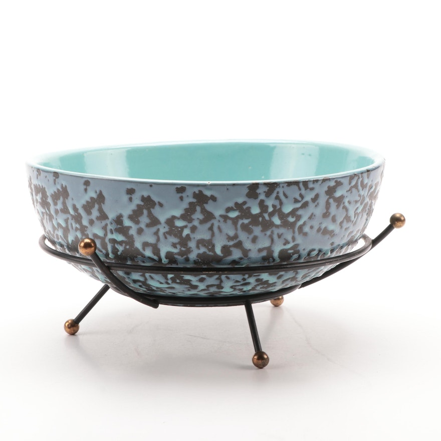 Mid Century Modern McCoy Pottery Brocade Glaze Bowl with Stand