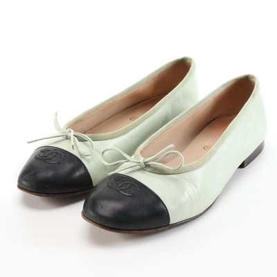 Chanel CC Cap-Toe Flats in Mint Green and Black Leather