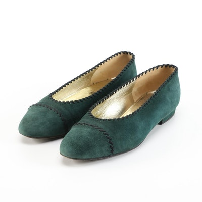 Chanel Suede Ballet Flats in Dark Green with Black Contrast Stitching Details